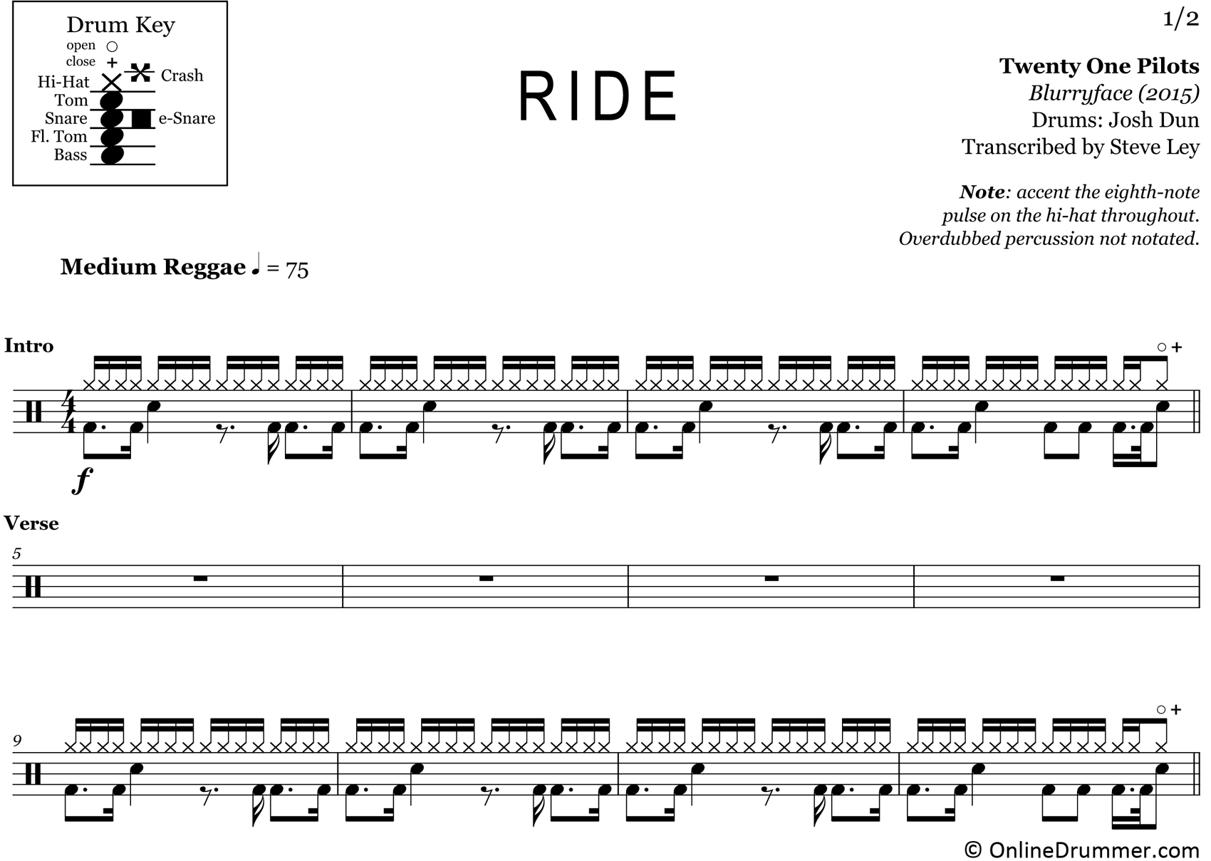Ride - Twenty One Pilots - Drum Sheet Music