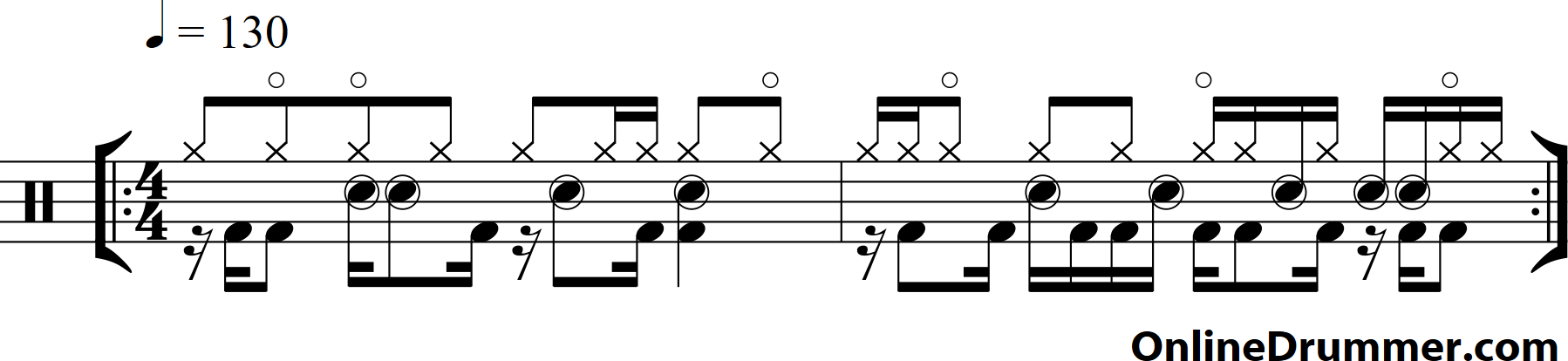 Drum Lessons - Rock Drumming Beats Three (w/ eighth notes)