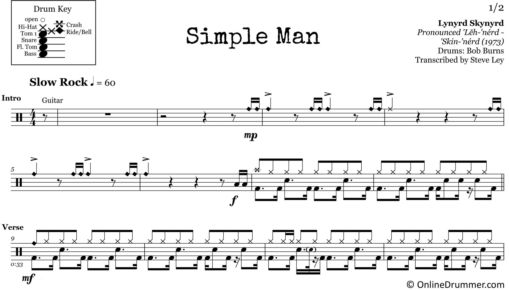 Simple Man - Lynryd Skynryd - Drum Sheet Music