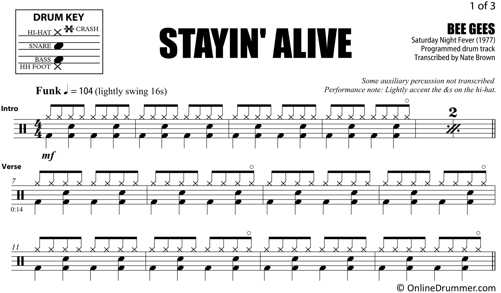 Stayin' Alive - Bee Gees - Drum Sheet Music