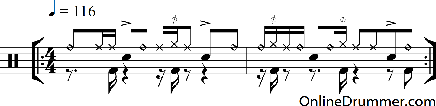 Syncopated Hi Hat And Bass Drum Drum Beat