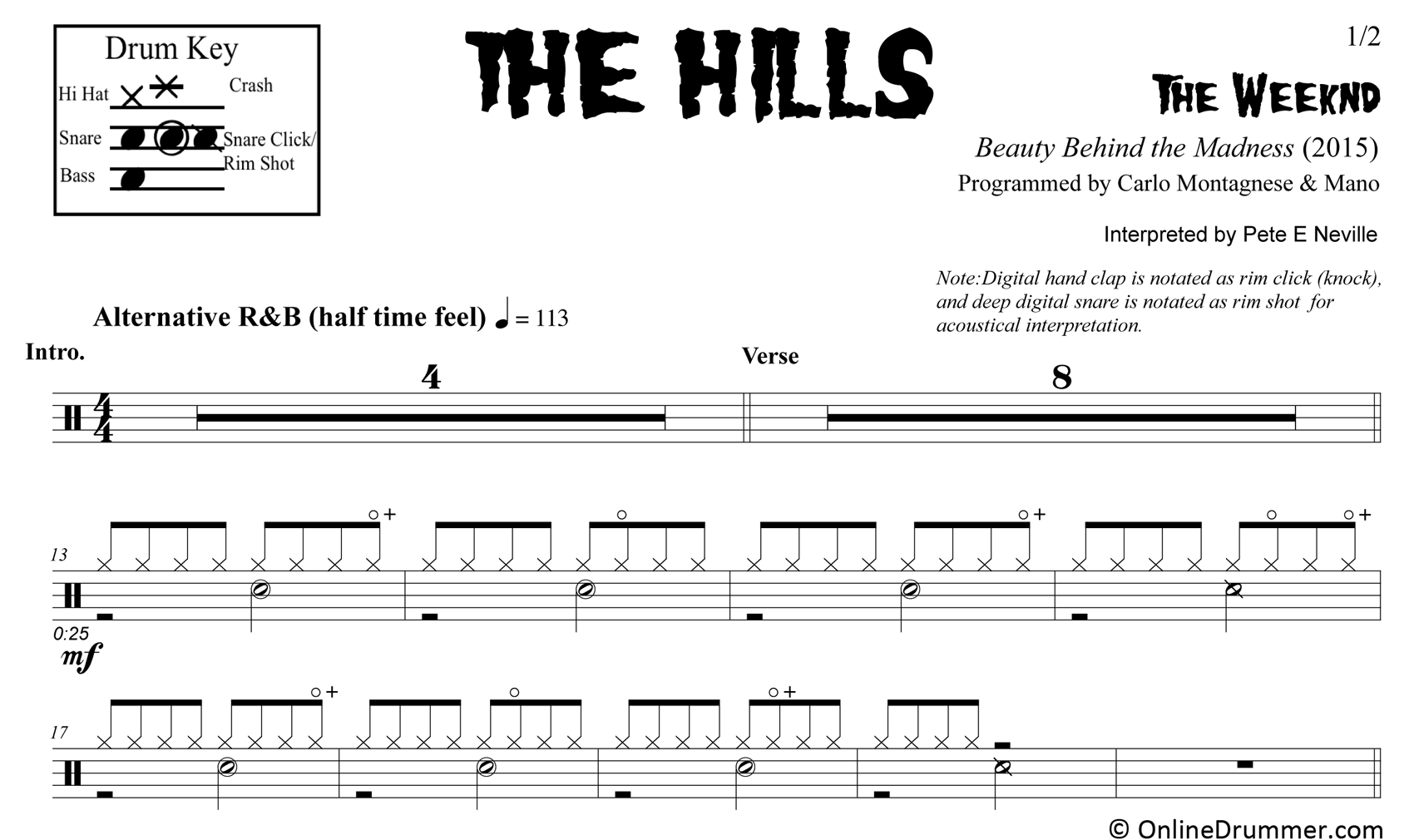 The Hills - The Weeknd - Drum Sheet Music