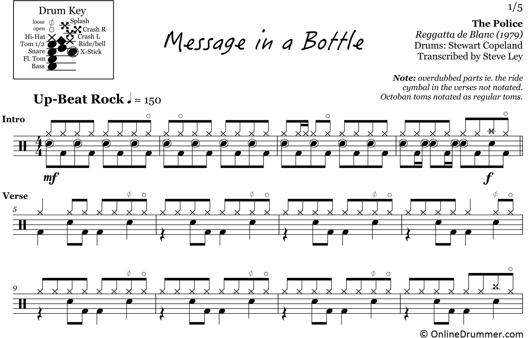 Message in a Bottle - The Police - Drum Sheet Music