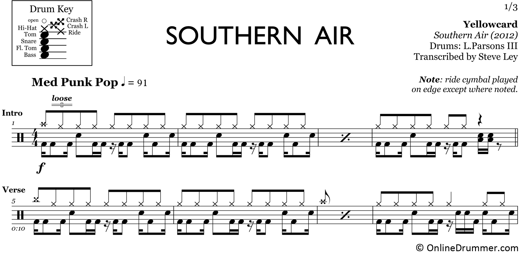 Southern Air - Yellowcard - Drum Sheet Music