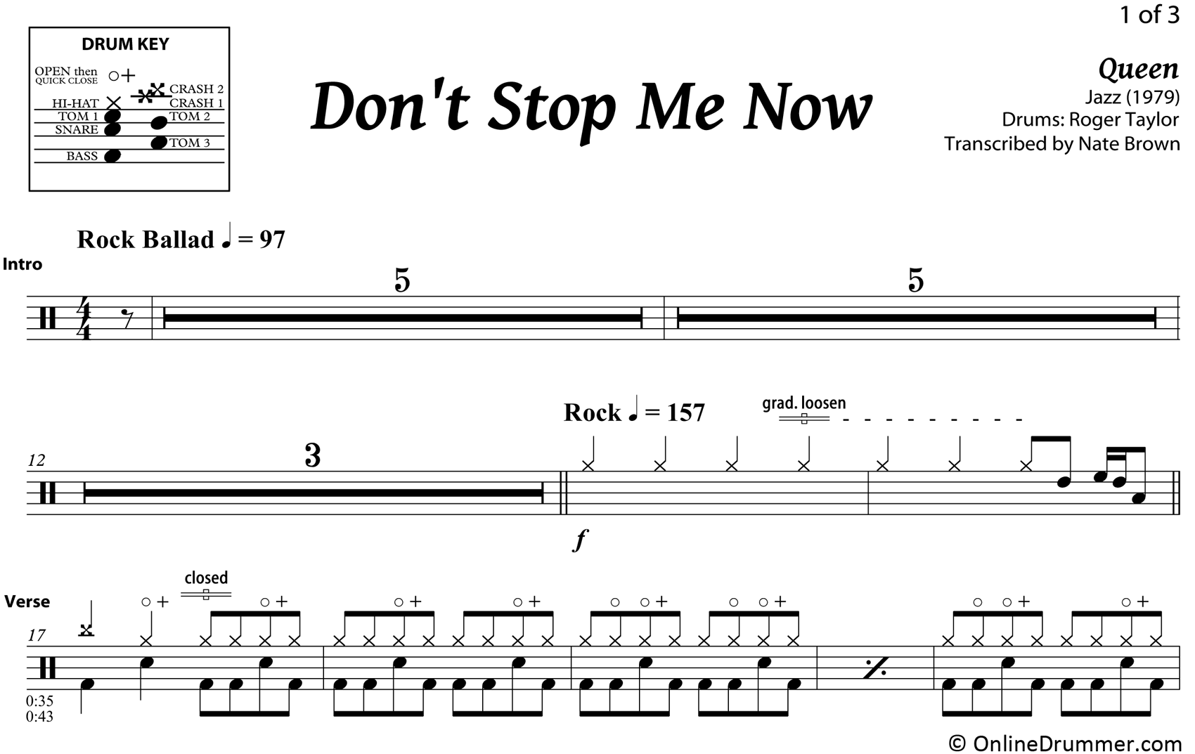 Don't Stop Me Now - Queen - Drum Sheet Music