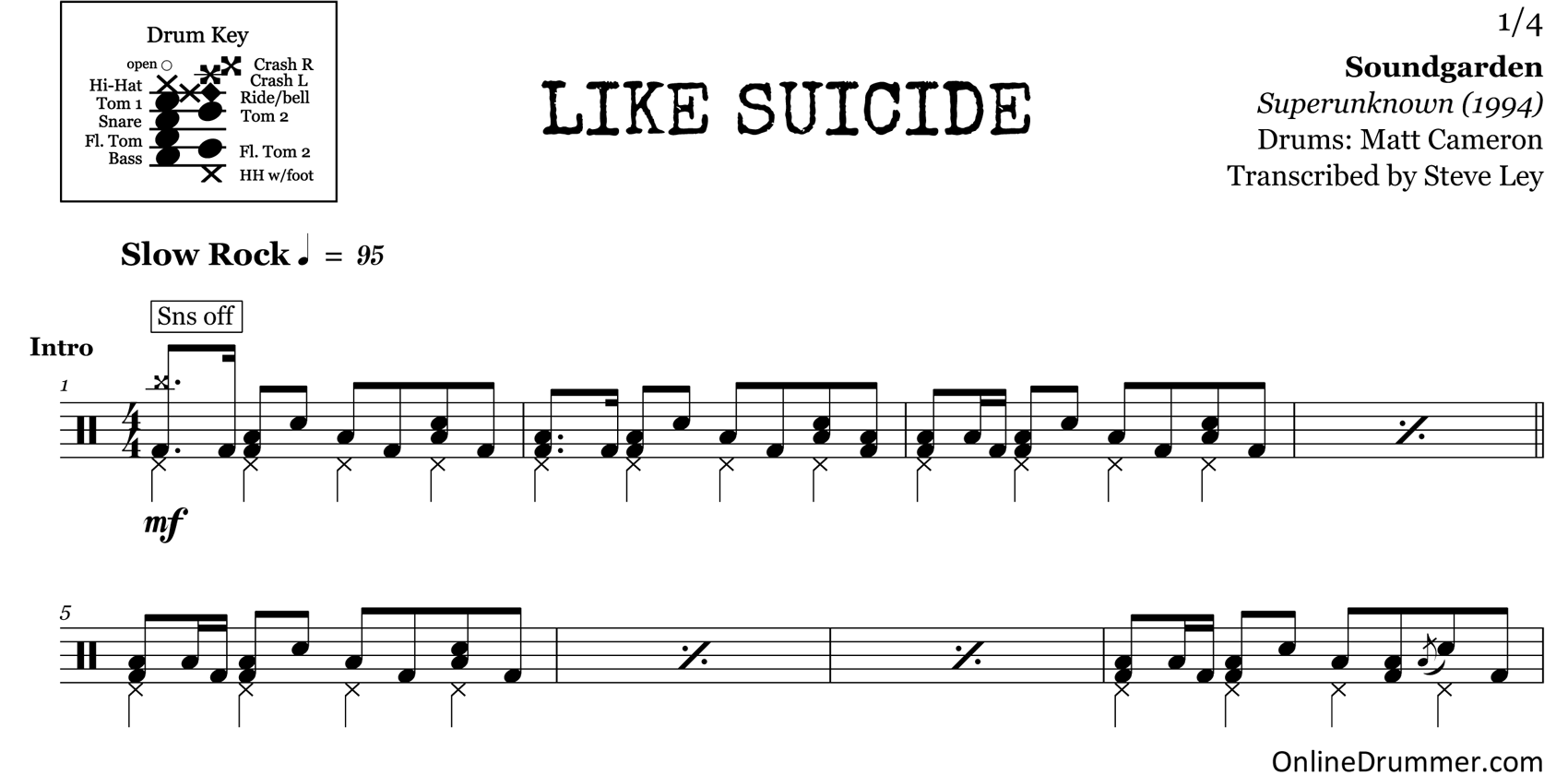 Like Suicide - Soundgarden - Drum Sheet Music