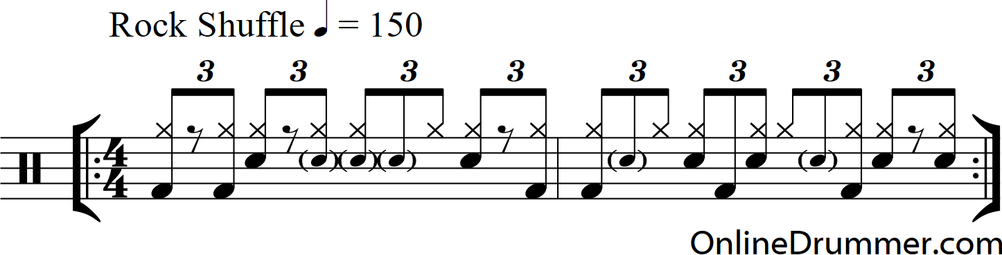 Syncopated Bass in a Rock Shuffle