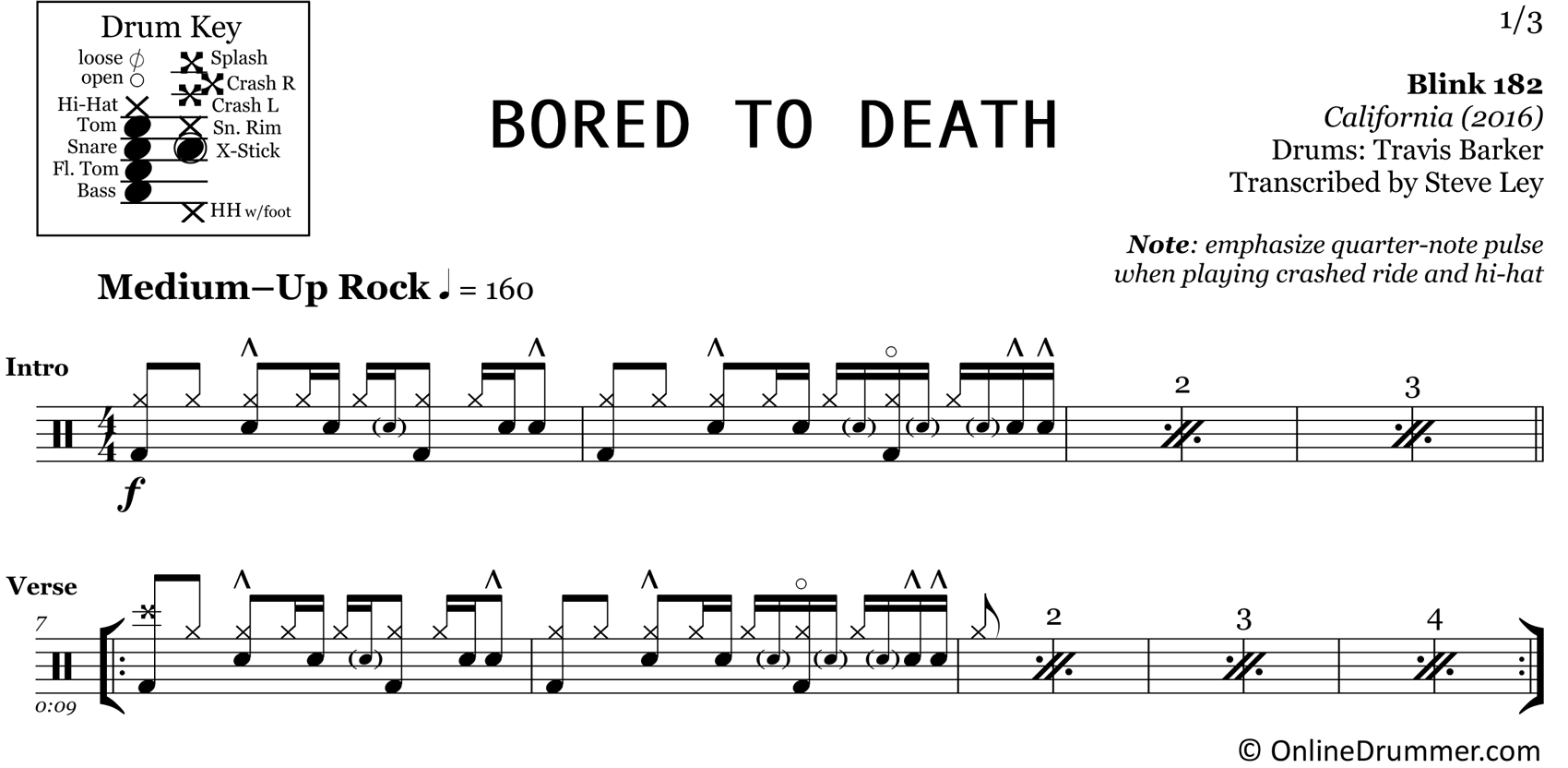 Bored to Death - Blink 182 - Drum Sheet Music