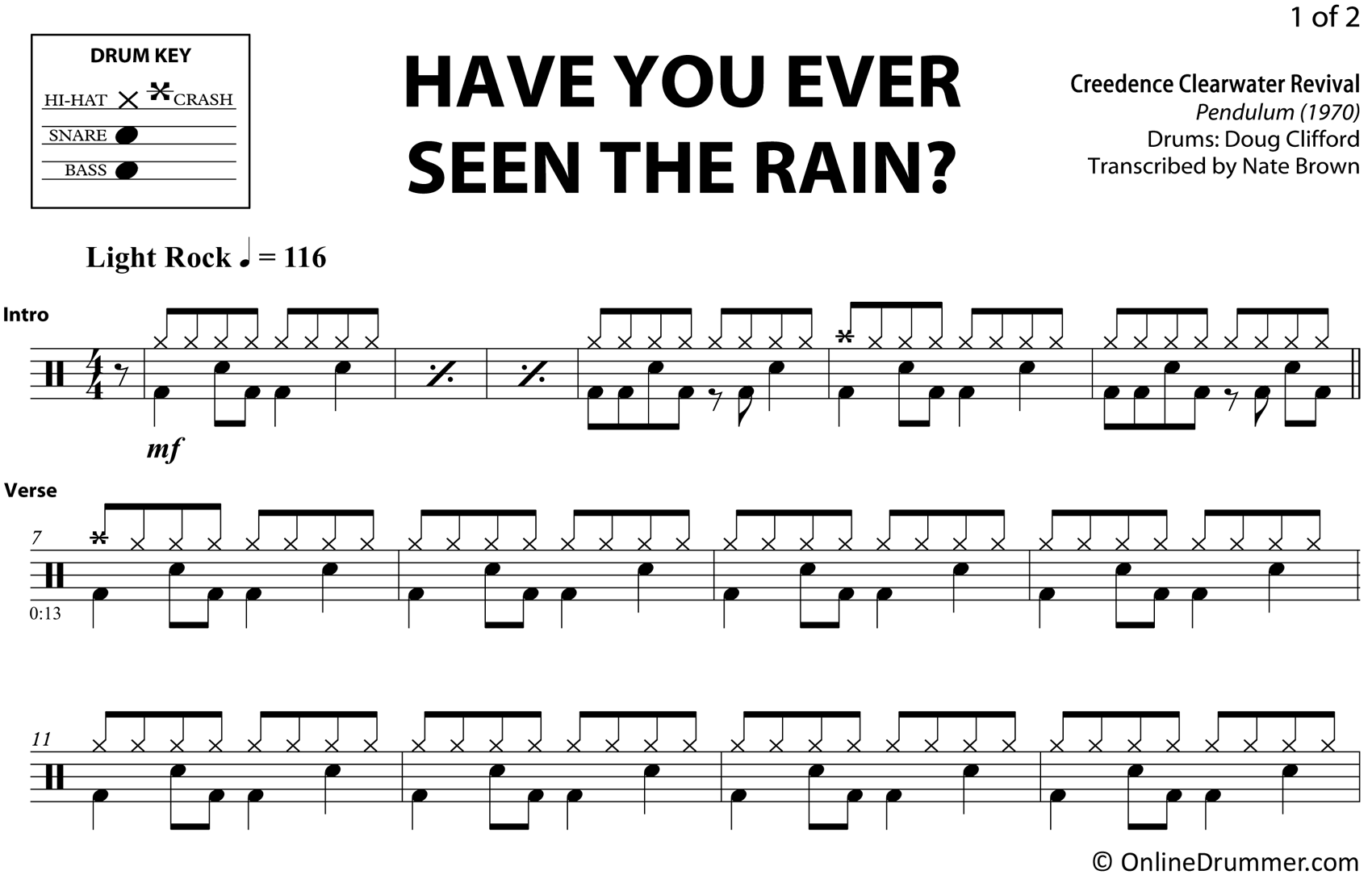 Have You Ever Seen The Rain - Creedence Clearwater Revival - Drum Sheet Music