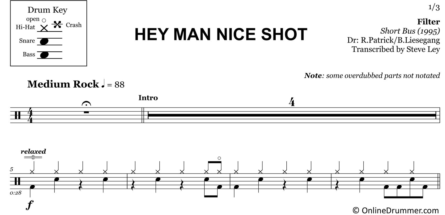 Hey Man Nice Shot - Filter - Drum Sheet Music