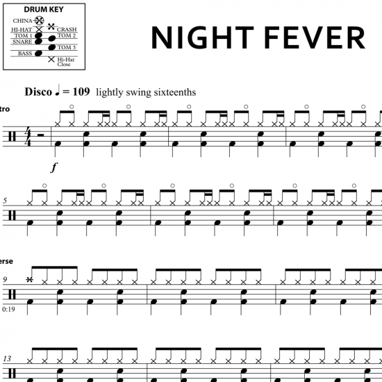 Night Fever - Bee Gees - Drum Sheet Music