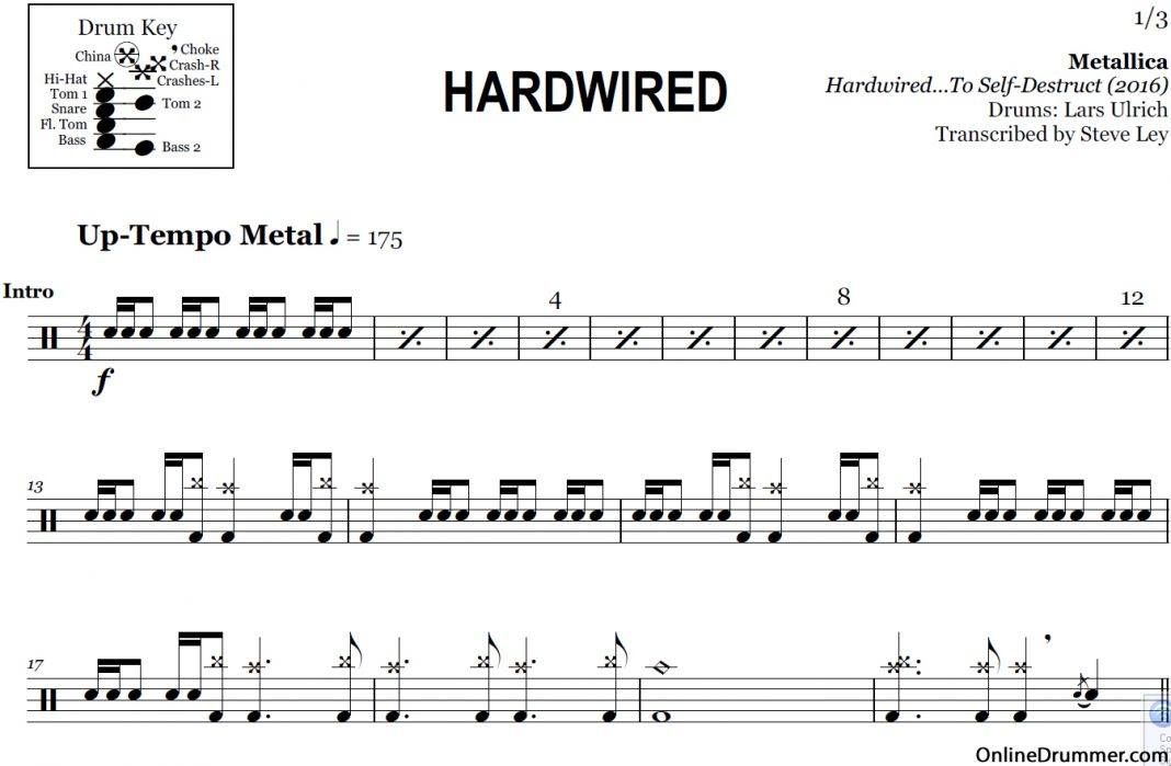Hardwired - Metallica u2013 Drum Sheet Music : OnlineDrummer.com