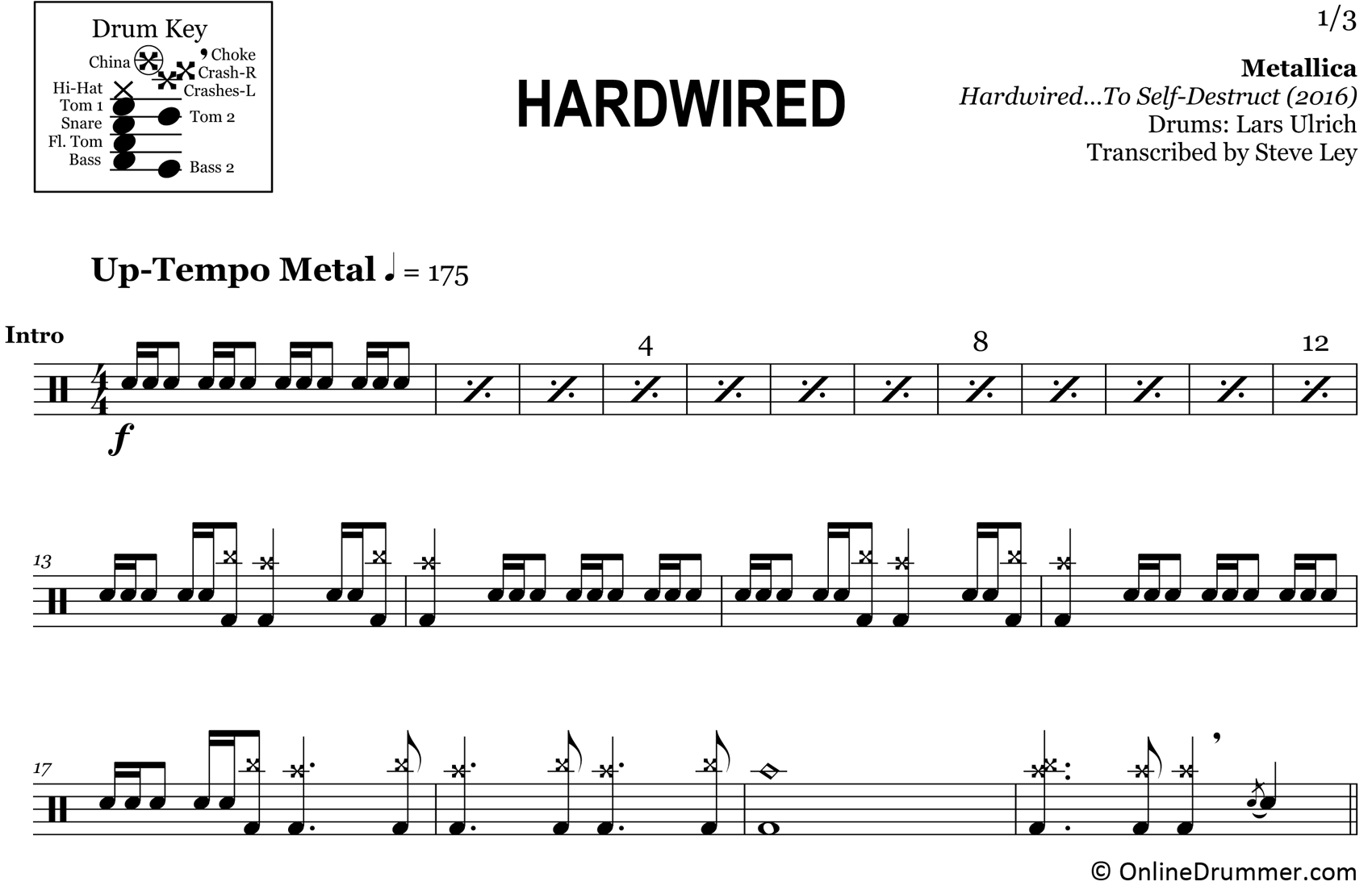 Hardwired - Metallica - Drum Sheet Music