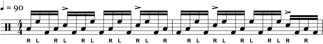 'R L F' Pattern Between the Toms and Bass