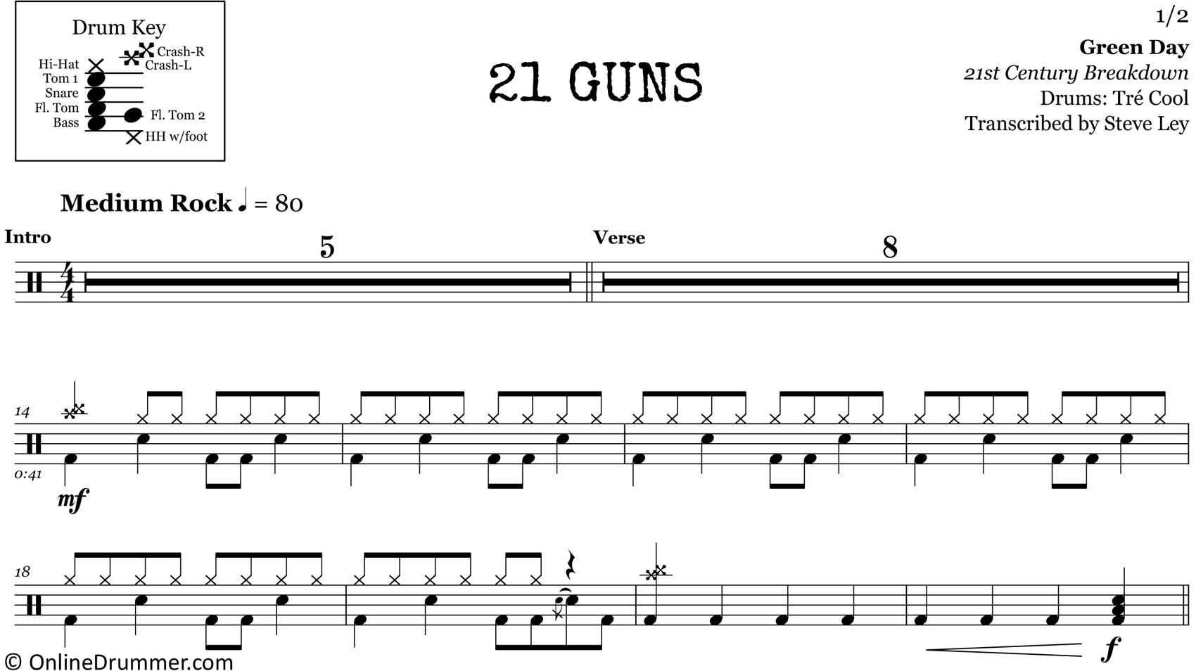 21 Guns - Green Day - Drum Sheet Music