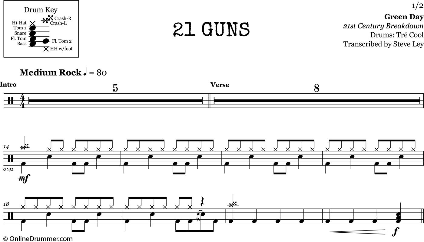 21 Guns Green Day Drum Sheet Music Onlinedrummer