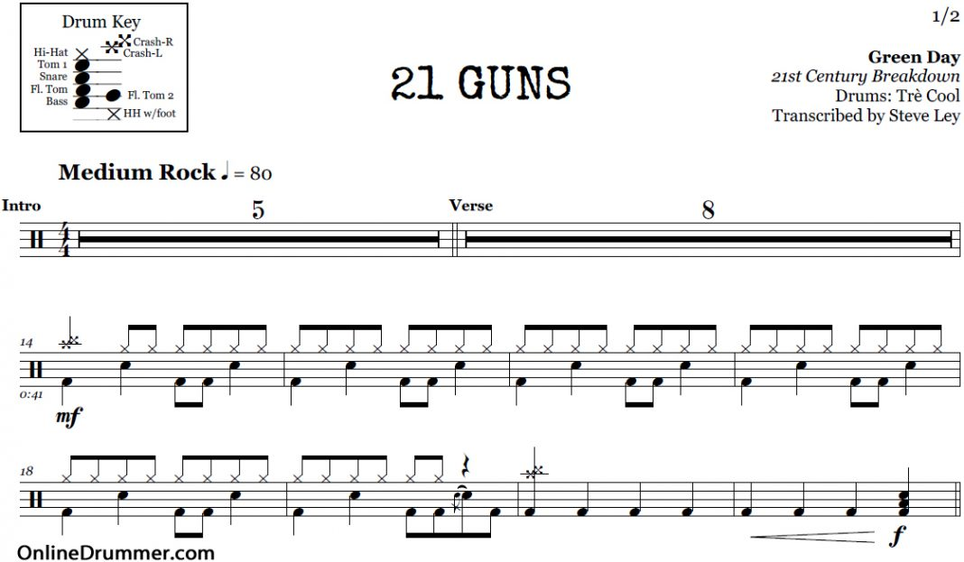 21 Guns - Green Day u2013 Drum Sheet Music : OnlineDrummer.com