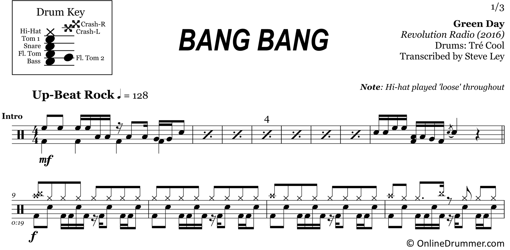 Bang Bang - Green Day - Drum Sheet Music