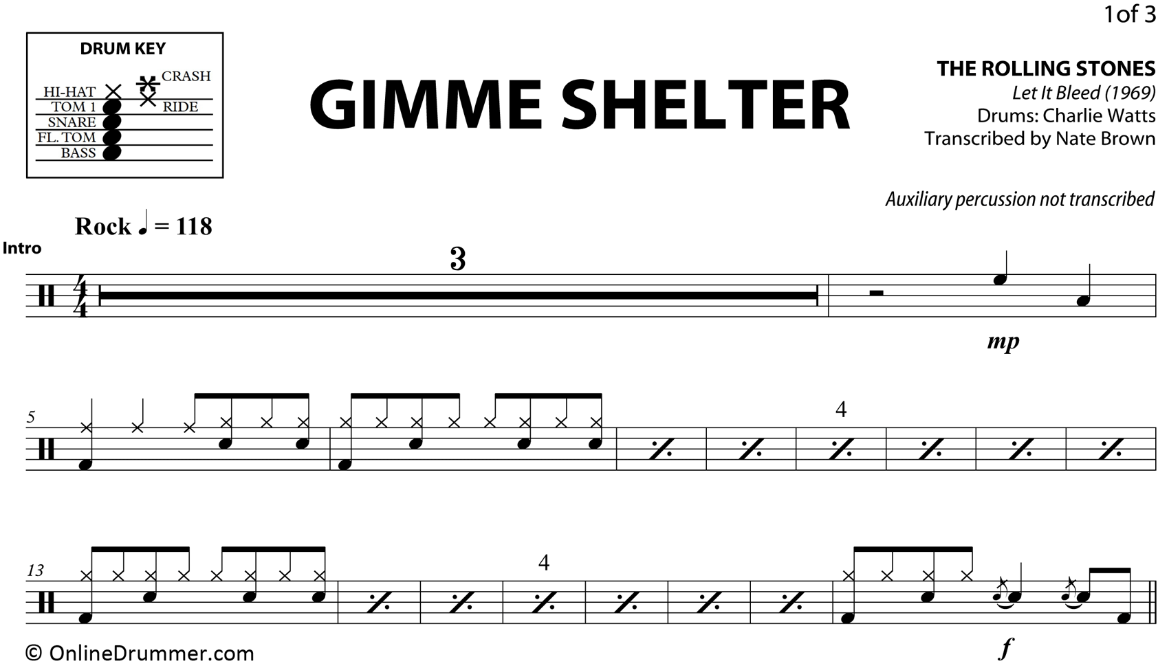 Gimme Shelter - The Rolling Stones - Drum Sheet Music