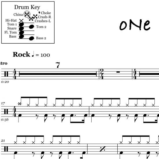 One - Metallica - Drum Sheet Music
