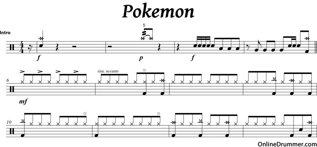All Music Chords anime sheet music : Pokemon – Drum Intro | OnlineDrummer.com