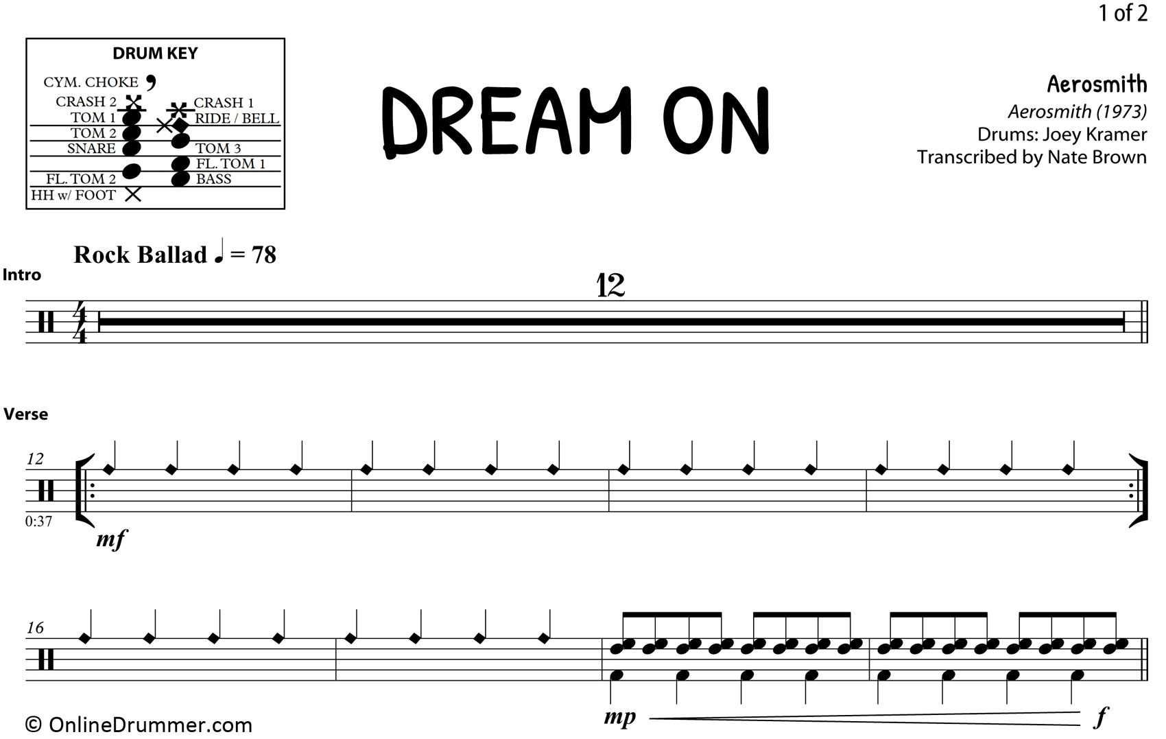 Dream On - Aerosmith - Drum Sheet Music