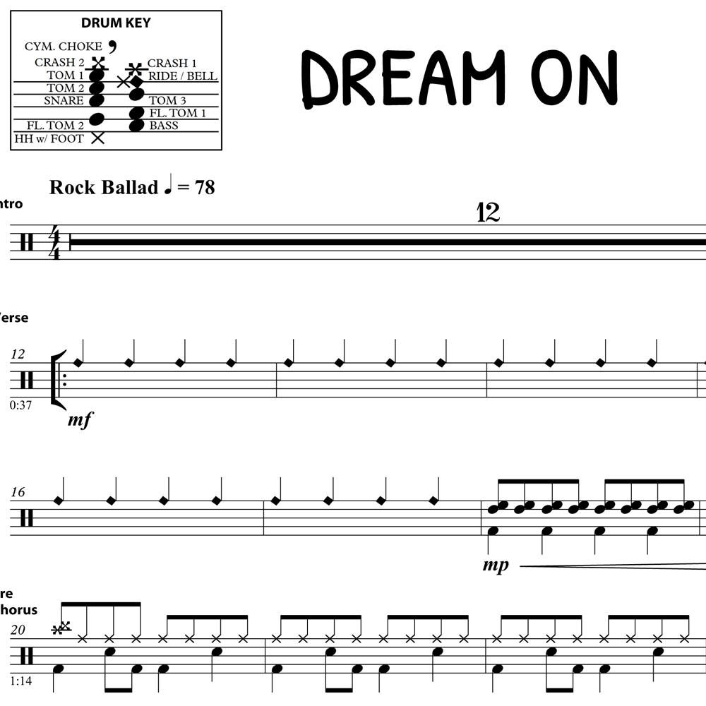 Dream On - Aerosmith - Drum Sheet Music