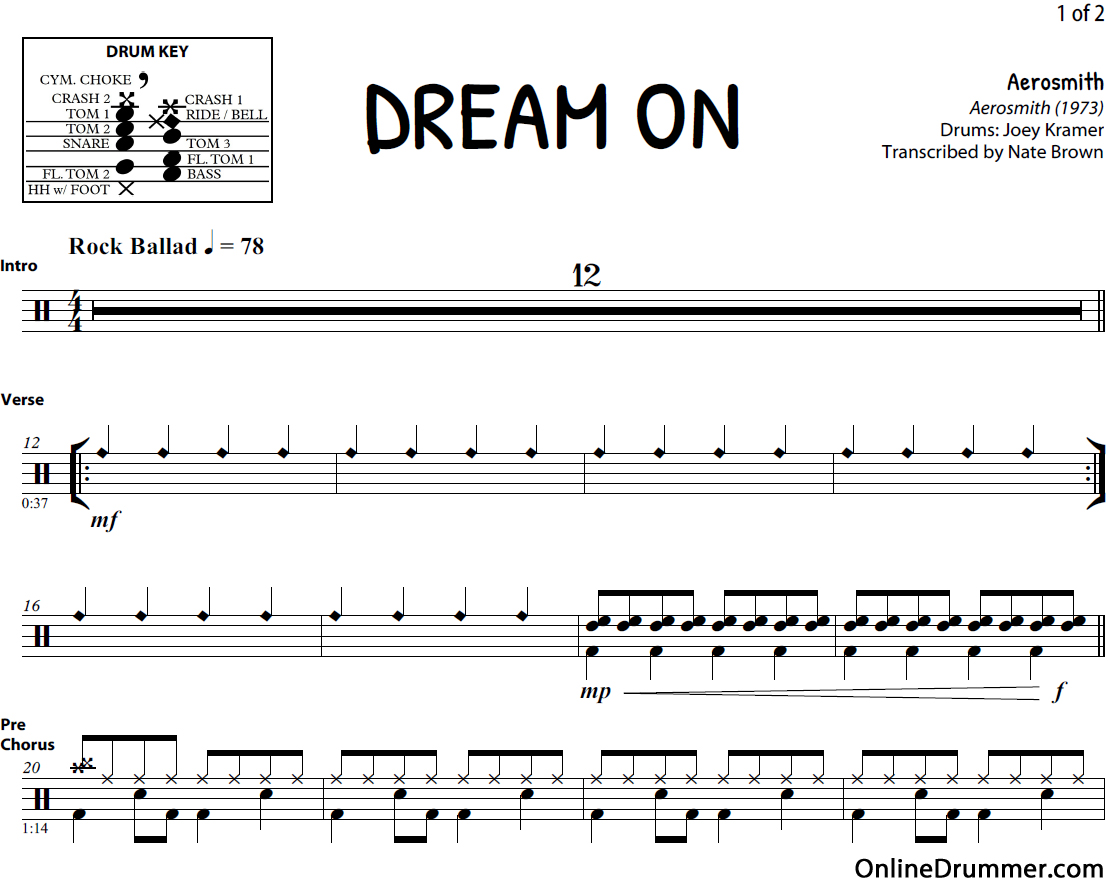 dream-on-drum-sheet-music