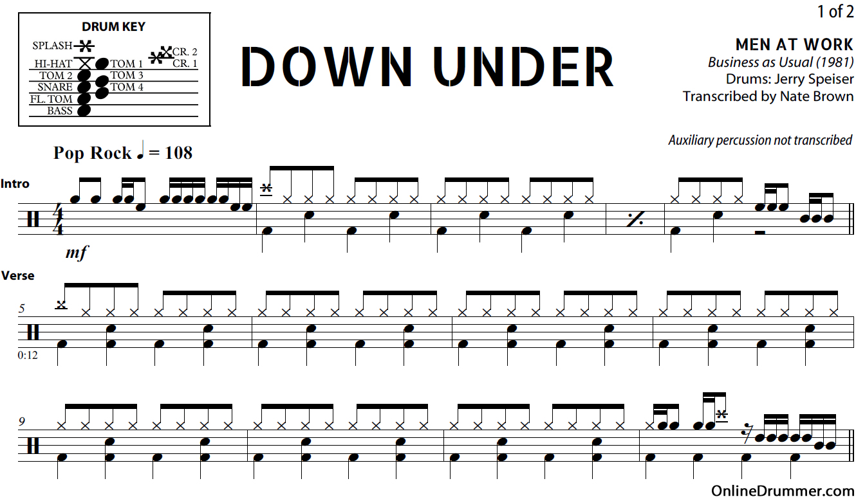 drum-sheet-music-down-under