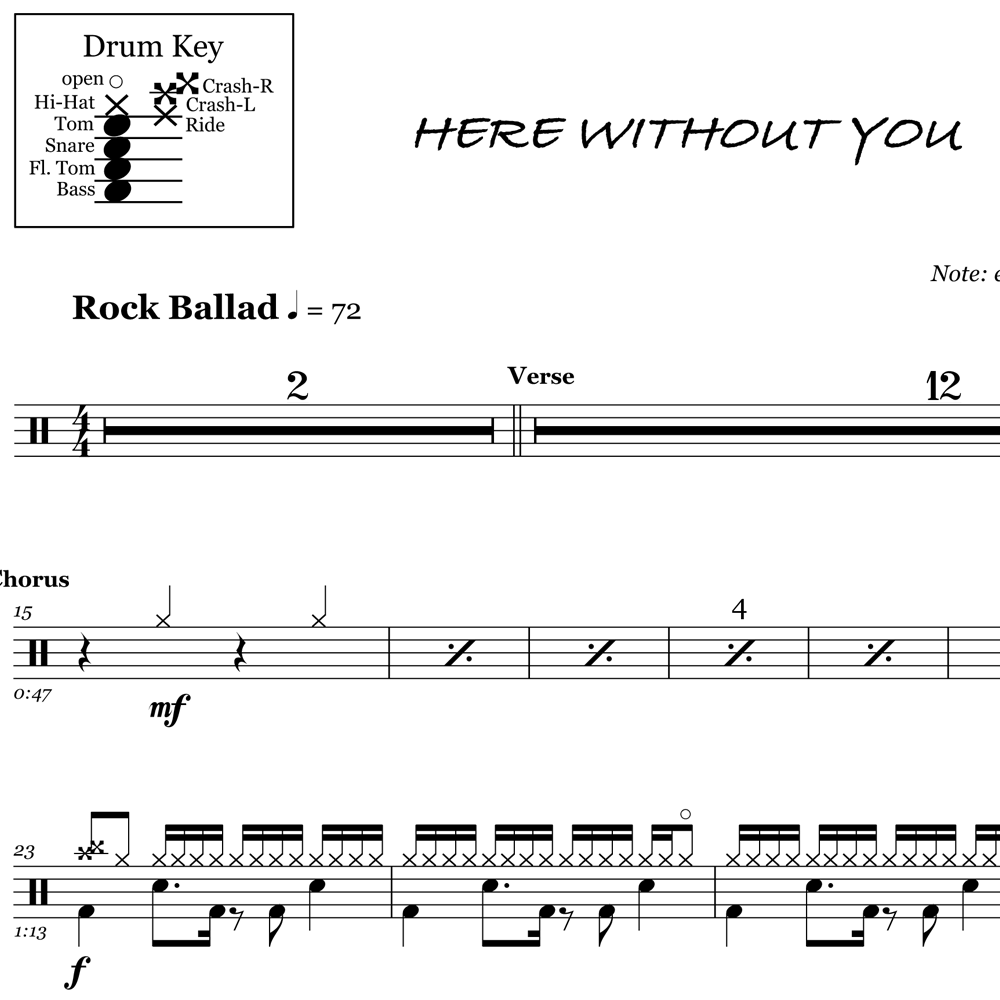 Two-Bar Explosive Drum Fill - 3 Doors Down Style
