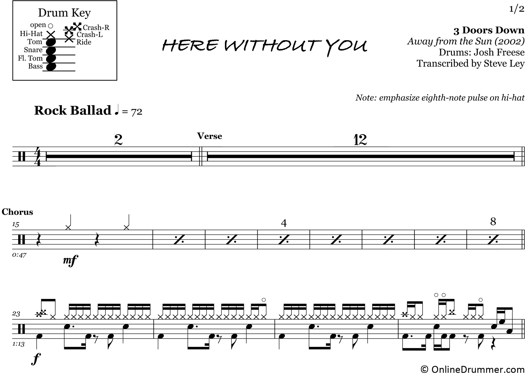 Here Without You - 3 Doors Down - Drum Sheet Music