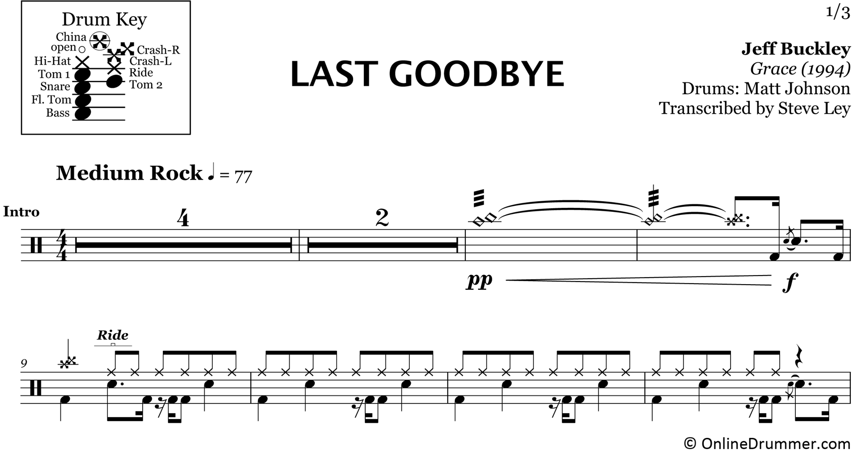 Last Goodbye - Jeff Buckley - Drum Sheet Music