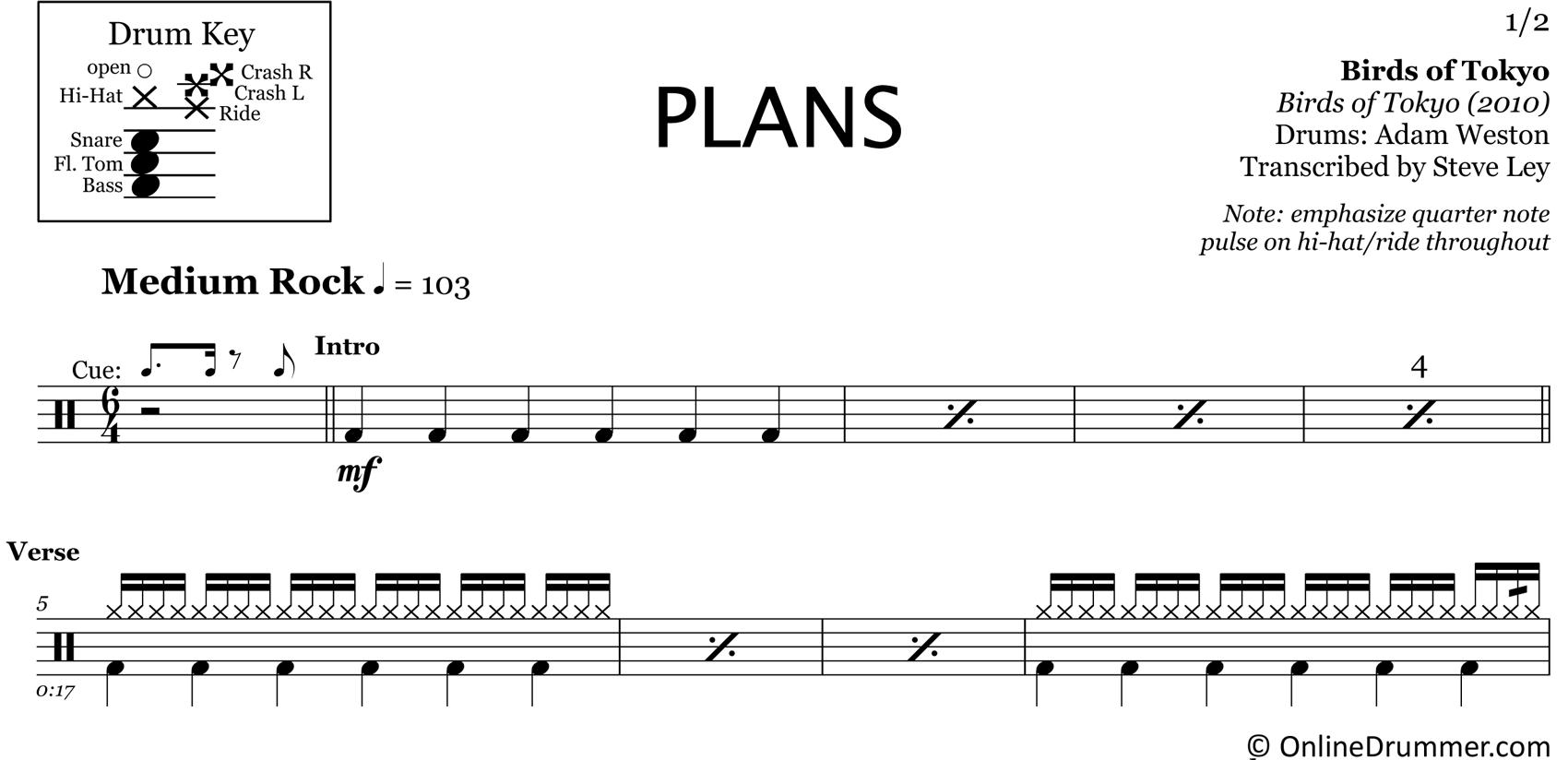 Plans - Birds of Tokyo - Drum Sheet Music