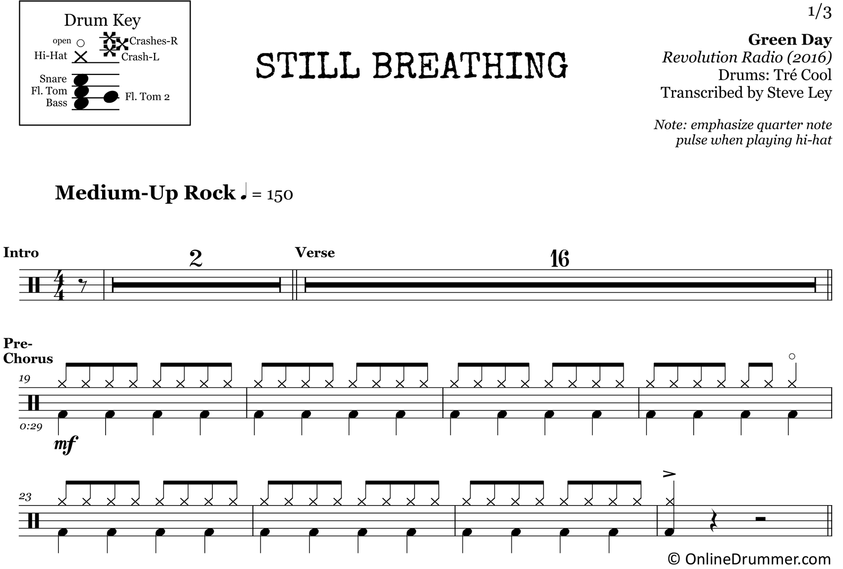 Still Breathing - Green Day - Drum Sheet Music