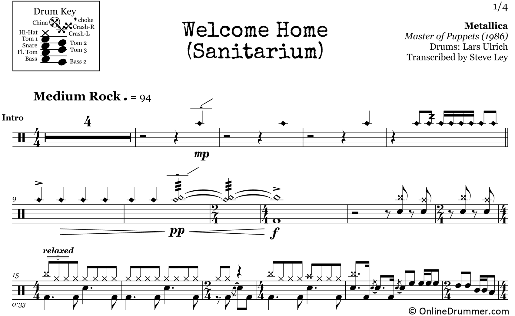 Welcome Home (Sanitarium) - Metallica - Drum Sheet Music
