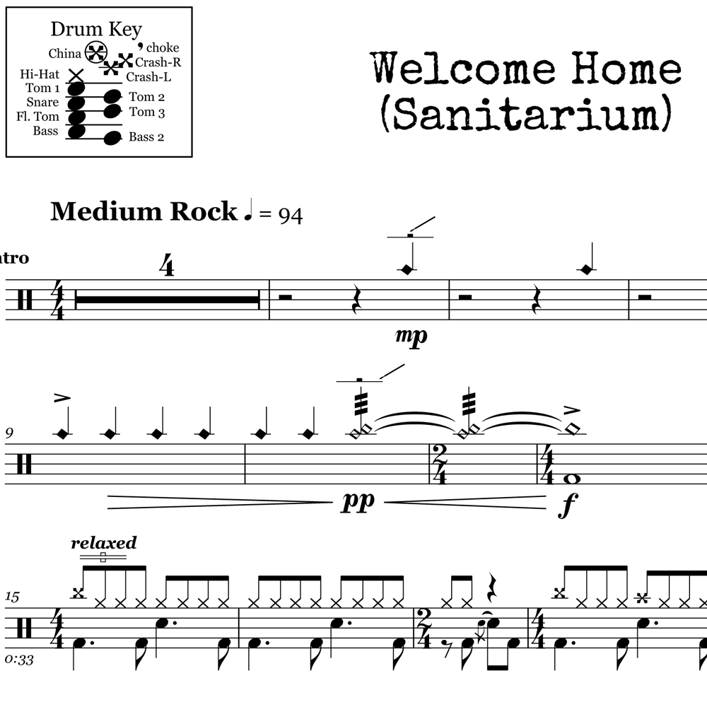 Verse Beat from Welcome Home (Sanitarium) by Metallica