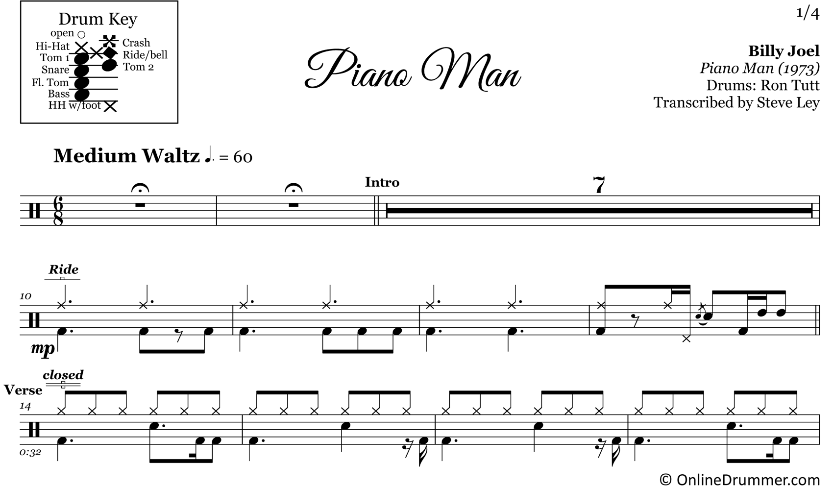 Piano Man - Billy Joel - Drum Sheet Music
