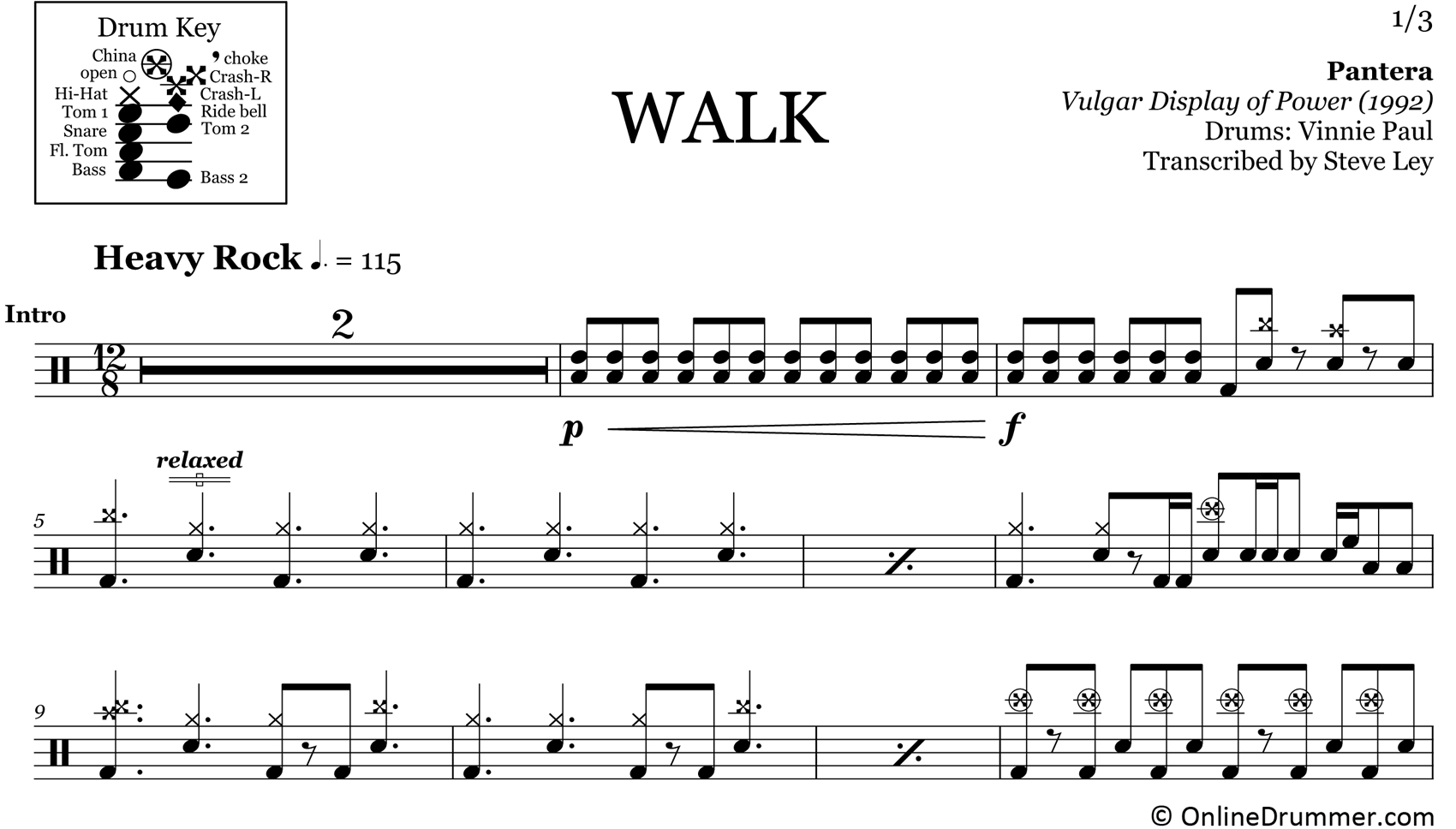 Walk - Pantera - Drum Sheet Music