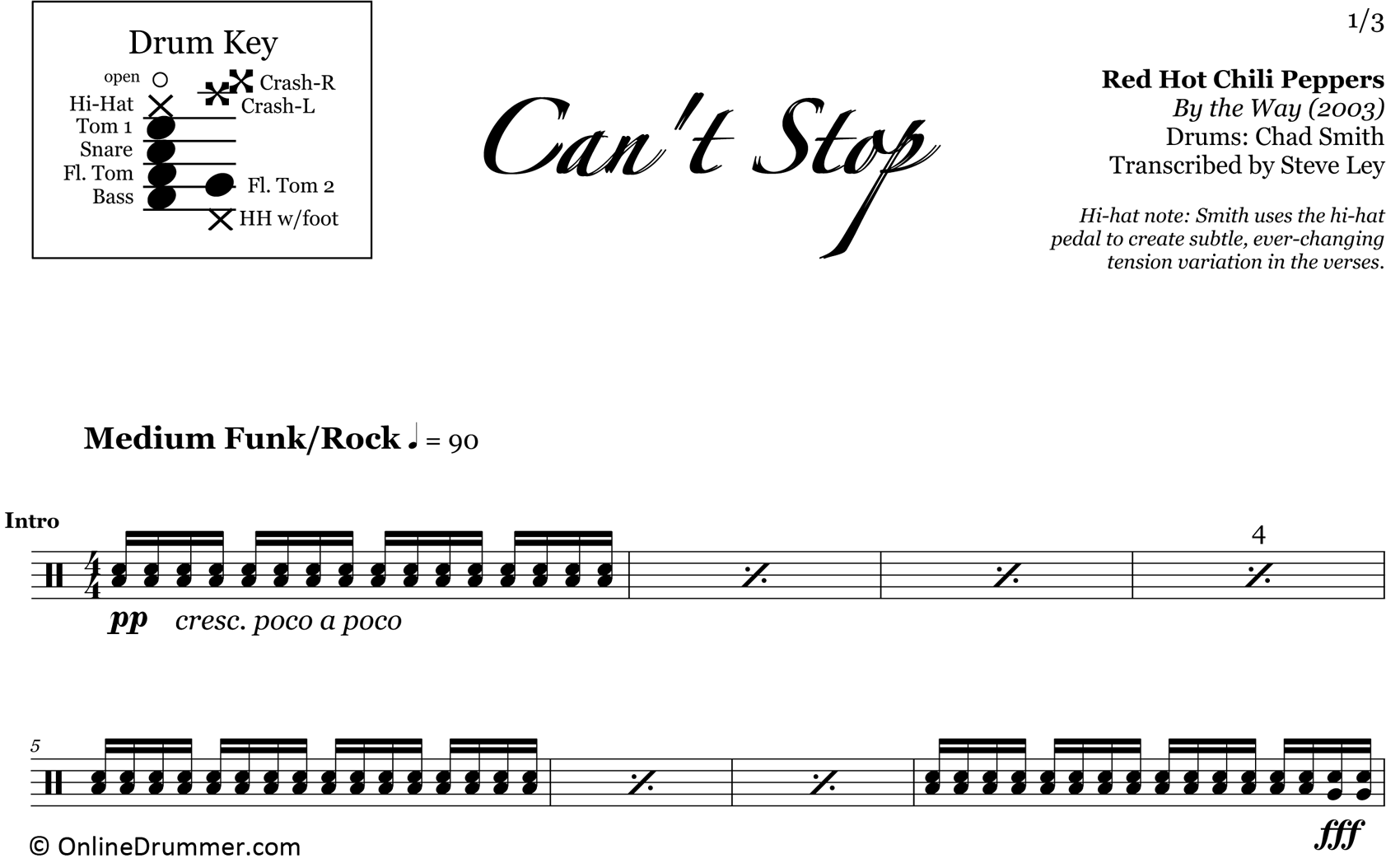 Can't Stop - Red Hot Chili Peppers - Drum Sheet Music