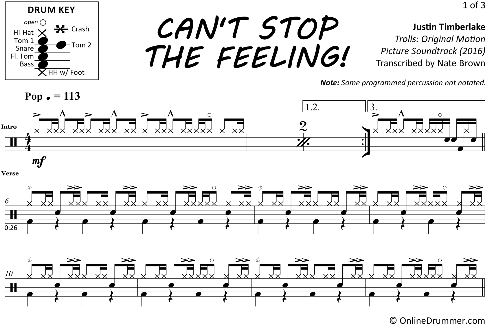 Can't Stop The Feeling - Justin Timberlake - Drum Sheet Music