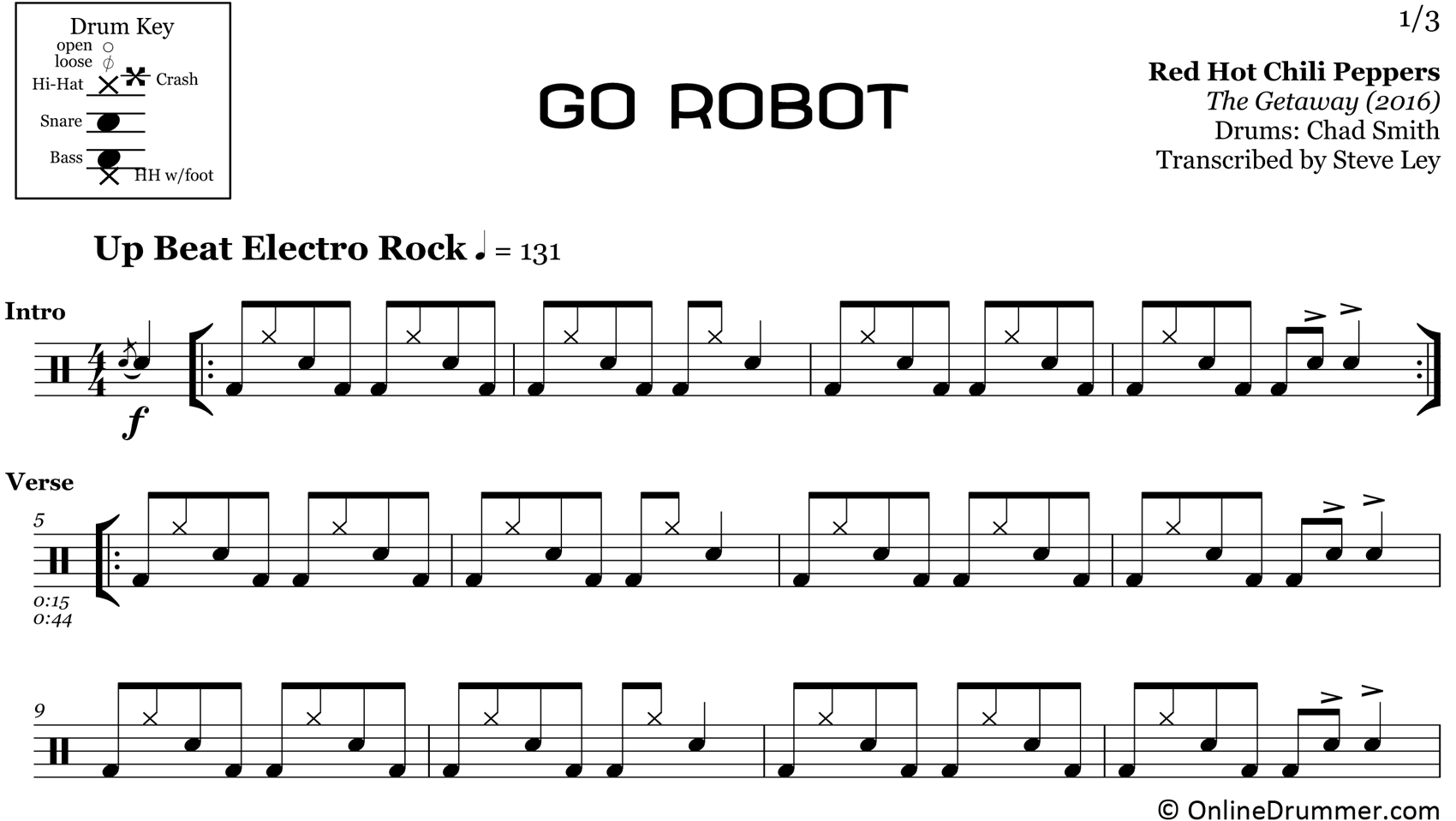 Go Robot - Red Hot Chili Peppers - Drum Sheet Music