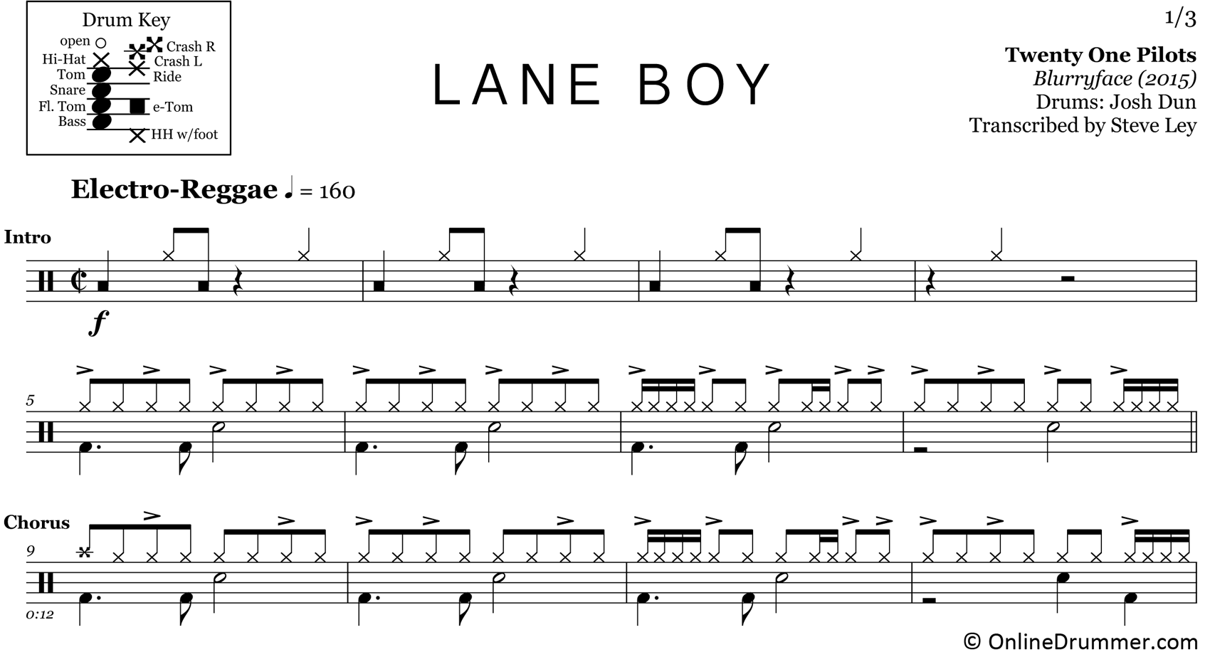 Lane Boy - Twenty One Pilots - Drum Sheet Music