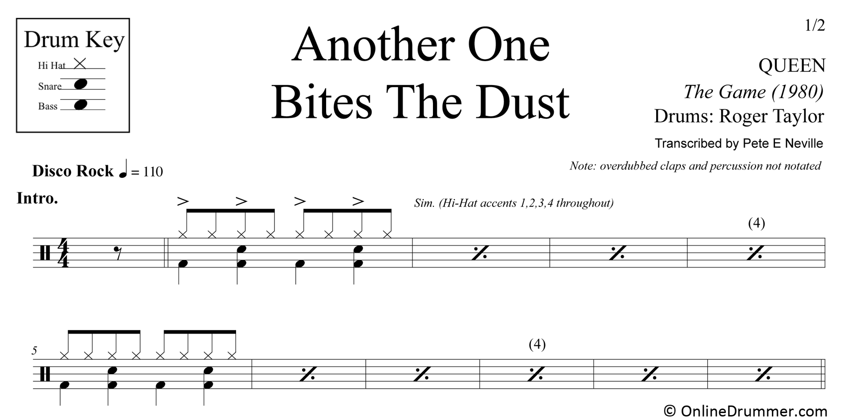 Another One Bites The Dust - Queen - Drum Sheet Music