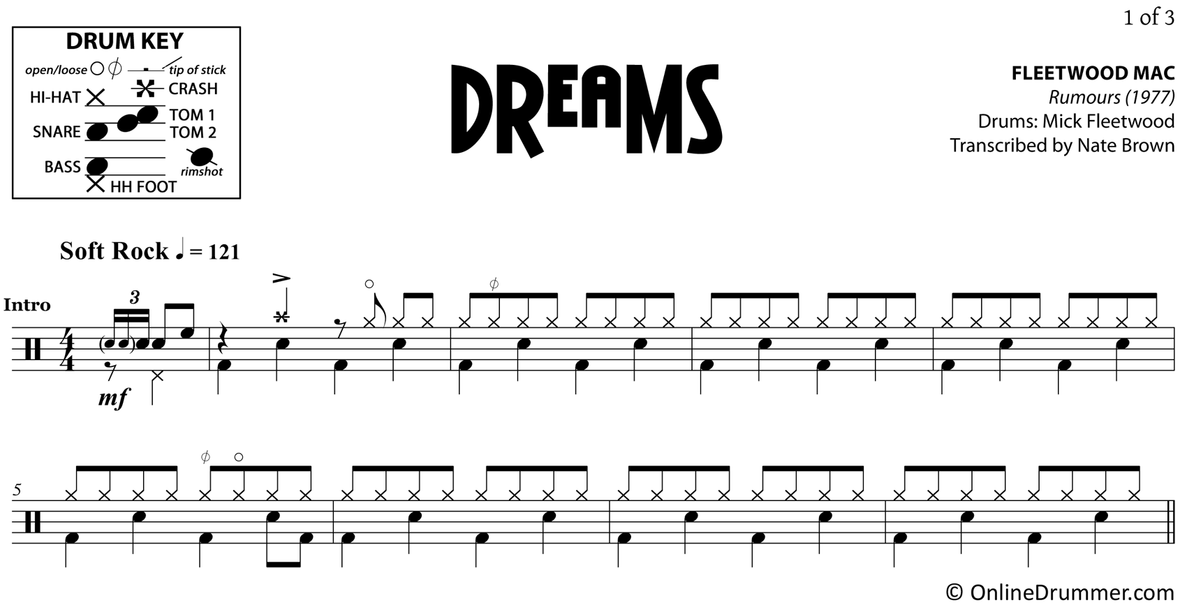 Dreams - Fleetwood Mac - Drum Sheet Music