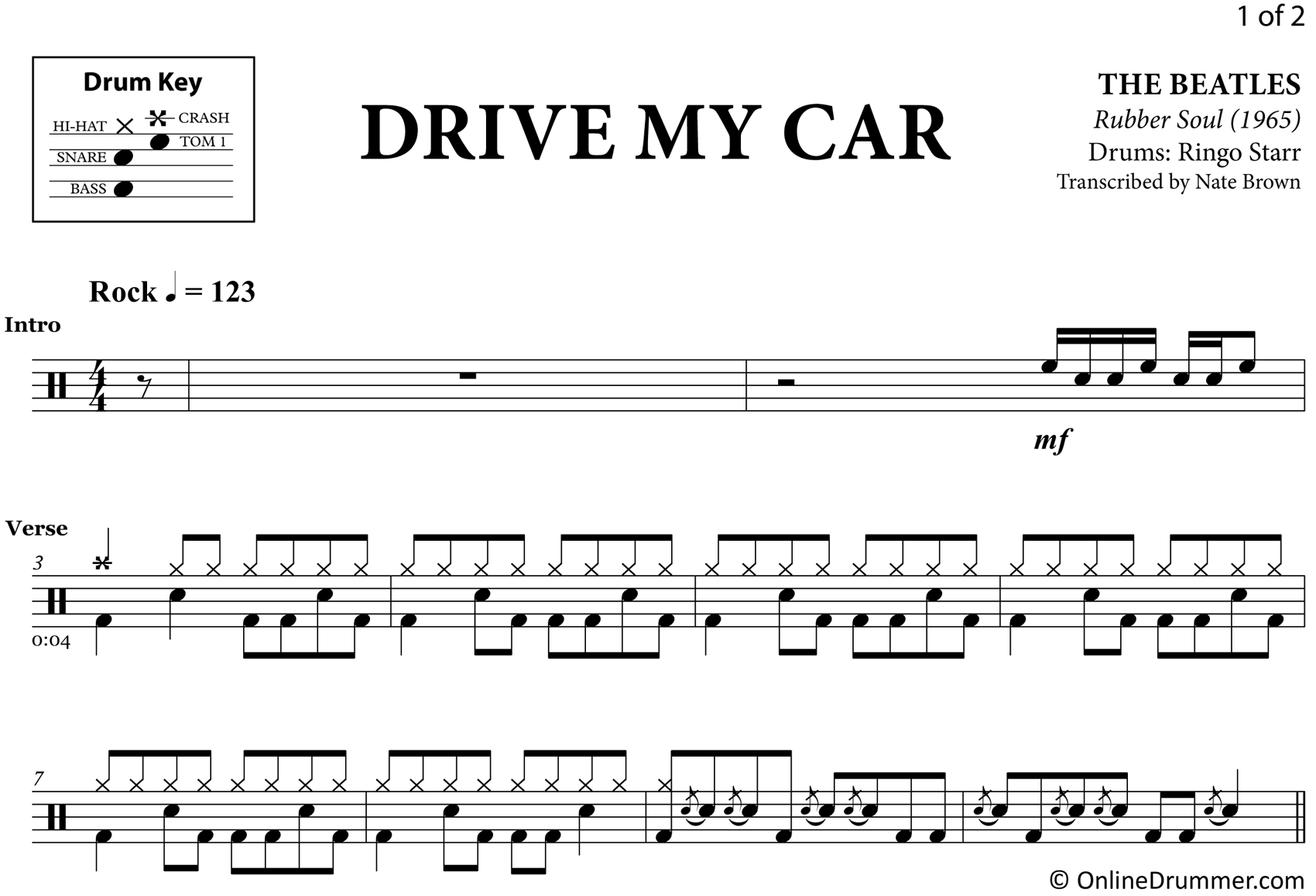 Drive My Car - The Beatles - Drum Sheet Music