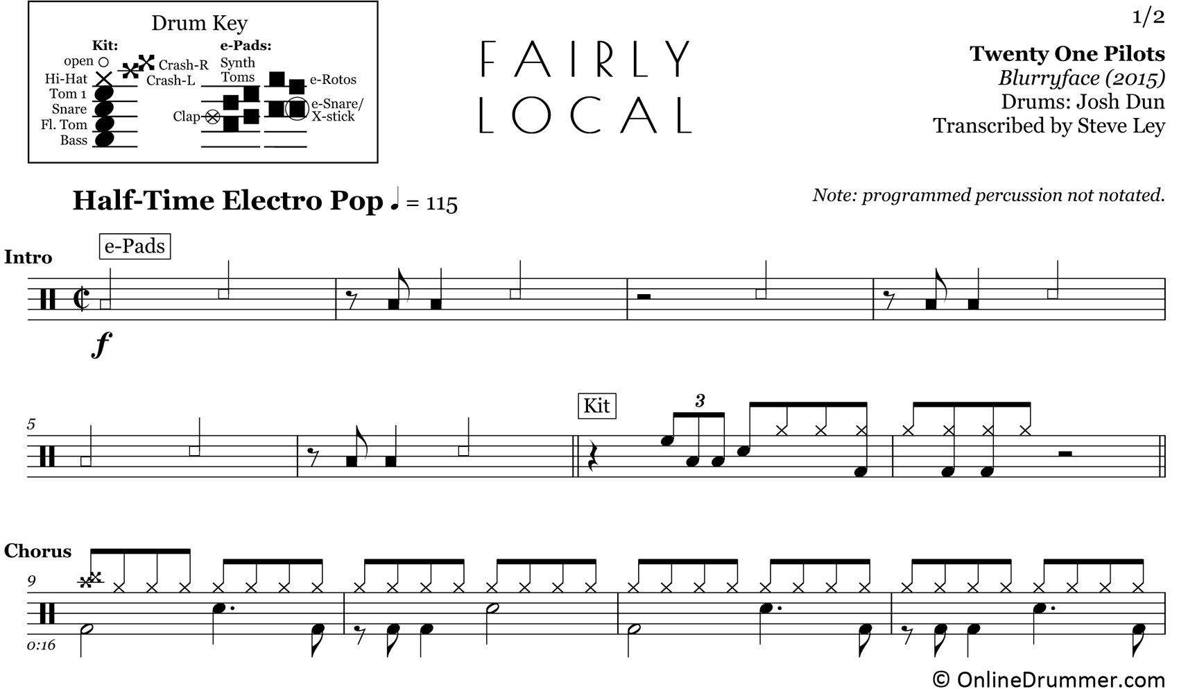 Fairly Local - Twenty One Pilots - Drum Sheet Music