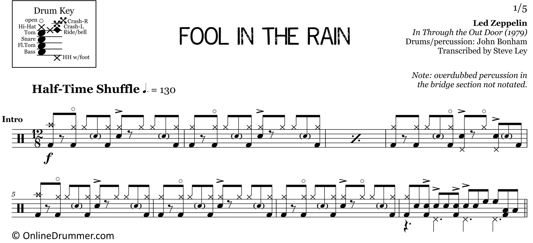 Fool in the Rain - Led Zeppelin - Drum Sheet Music