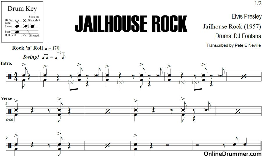 Jailhouse Rock – Elvis Presley – Drum Sheet Music | OnlineDrummer.com
