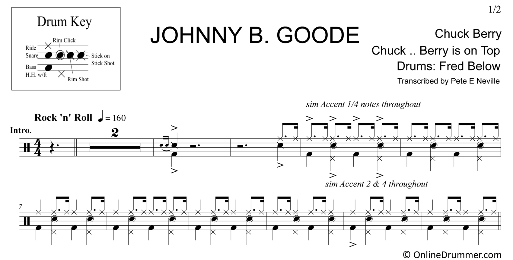 Johnny B Goode - Chuck Berry - Drum Sheet Music