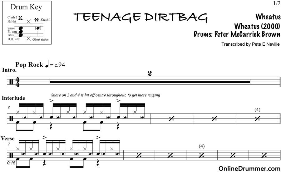 Teenage Dirtbag – Wheatus – Drum Sheet Music | OnlineDrummer.com